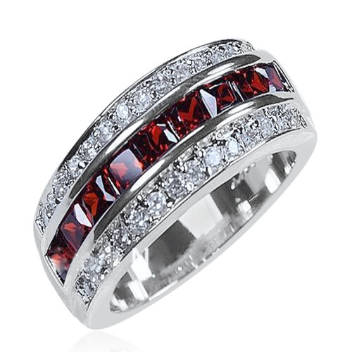 Rhodolite Garnet (Sqr), White Zircon Band Ring in Rhodium Plated Sterling Silver 3.750 Ct.
