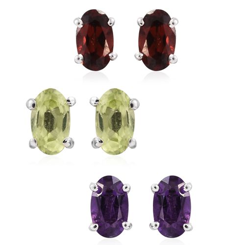 Set of 3 - Garnet, Peridot and Amethyst 1.25 Ct Silver Solitaire Stud Earrings (with Push Back) in Platinum Overlay
