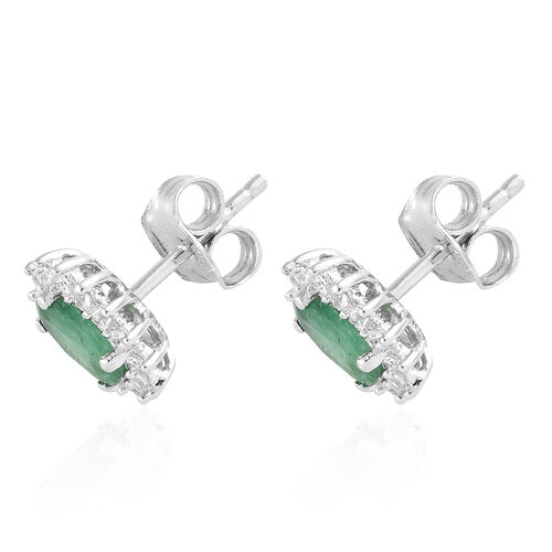 1.25 Ct AA Kagem Zambian Emerald and Natural Cambodian Zircon Halo Stud Earrings in 9K White Gold (with Push Back)