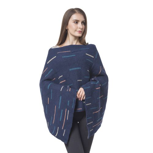 Designer Inspired - Navy, Orange and Multi Colour Poncho with Tassels (Size 96X90 Cm)