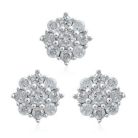 9K White Gold 0.50 Ct SGL Certified Diamond Floral Pendant and Stud Earrings (with Push Back) (I3/G-H)