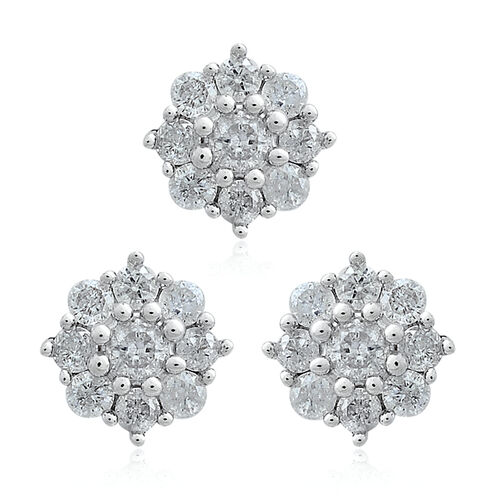 1/2 Carat Diamond Floral Pendant and Stud Earrings Set in 9K White Gold (with Push Back) SGL Certified (I3/G-H)