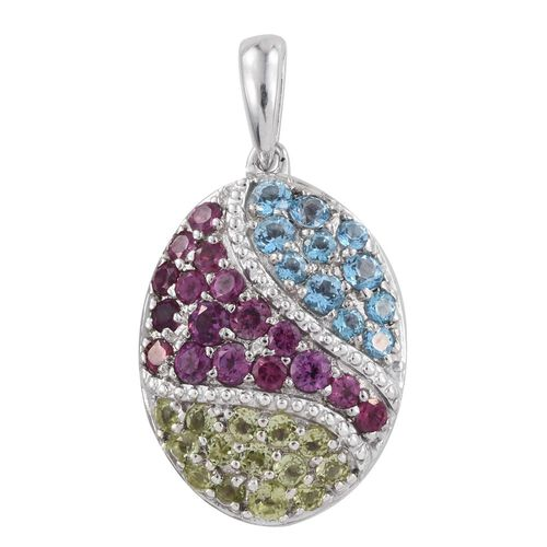 Rhodolite Garnet (Rnd), Signity Blue Topaz and Hebei Peridot Pendant in Platinum Overlay Sterling Silver 2.250 Ct.
