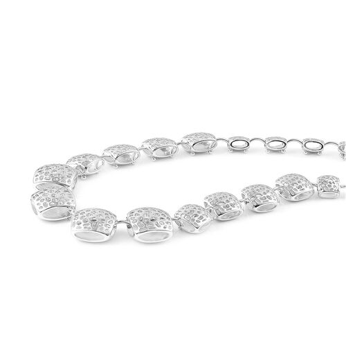 RACHEL GALLEY Rhodium Plated Sterling Silver Memento Diamond Necklace (Size 20), Silver wt 70.93 Gms.