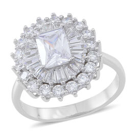 ELANZA AAA Simulated White Diamond (Oct) Ring in Rhodium Plated Sterling Silver, Silver wt 5.60 Gms.