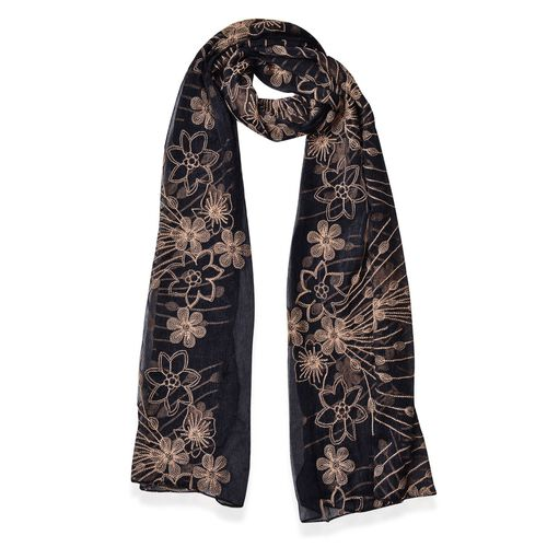 Golden Floral Embroidered Black Colour Scarf (Size 175X70 Cm)