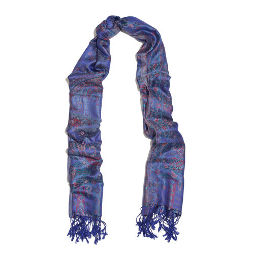 Silk Mark - 100% Super Fine Silk Prism Violet, Red and Multi Colour Floral and Paisley Pattern Jacquard Jamawar Scarf with Fringes (Size 180x70 Cm) (Weight 125 - 140 Gms)