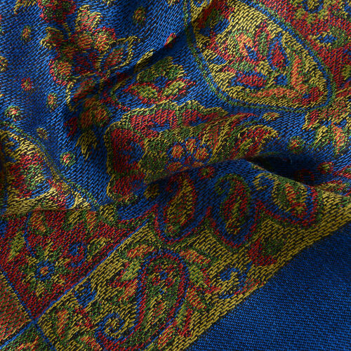 Designer Inspired-Royal Blue, Black, Red and Multi Colour Maple Leaf and Paisley Pattern Scarf with Fringes (Size 180x70 Cm)