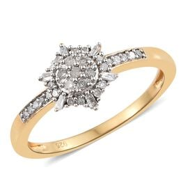 Diamond 14K Gold Overlay Sterling Silver Ring  0.251  Ct.