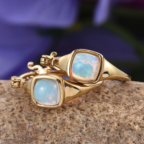 Ethiopian Welo Opal (Cush) Hoop Earrings (with Clasp) in 14K Gold Overlay Sterling Silver 1.250 Ct.