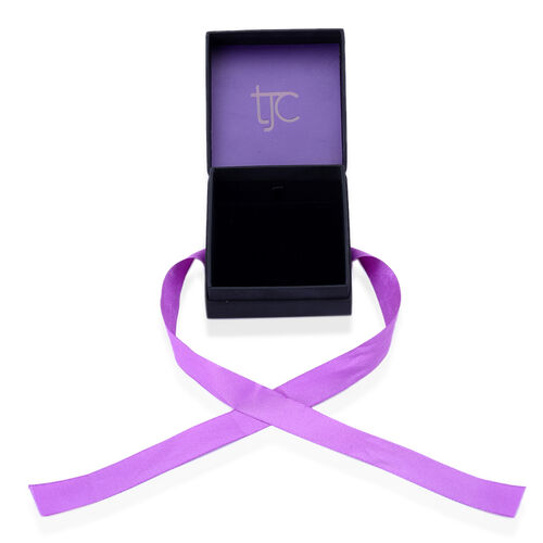 Luxury Black Large Jewellery Gift Box With Purple Ribbon [8.8x8.4x4.5cm]