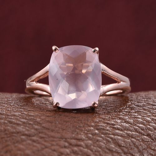 Rose Quartz (Cush) Solitaire Ring in Rose Gold Overlay Sterling Silver 6.000 Ct.