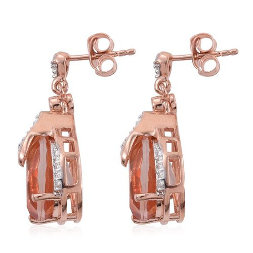 Galileia Blush Pink Quartz (Pear), White Topaz Earrings (with Push Back) in Rose Gold Overlay Sterling Silver 8.750 Ct.