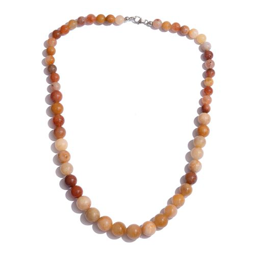 Honey Quartzite Beads Necklace (Size 20) in Sterling Silver 300.000 Ct.