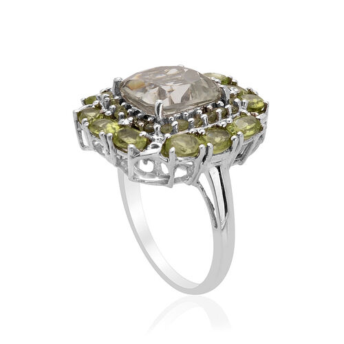 Green Amethyst (Cush 3.50 Ct), Hebei Peridot Ring in Platinum Overlay Sterling Silver 6.000 Ct.