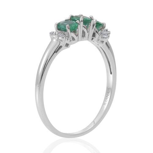 ILIANA 18K W Gold Kagem Zambian Emerald (Ovl), Diamond Ring 1.150 Ct.