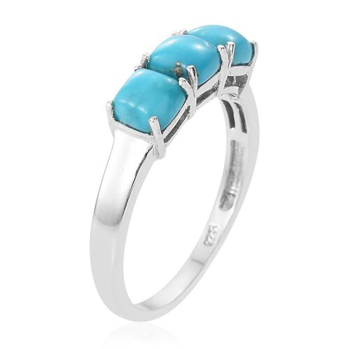 Arizona Sleeping Beauty Turquoise (Cush) Trilogy Ring in Platinum Overlay Sterling Silver 1.750 Ct.