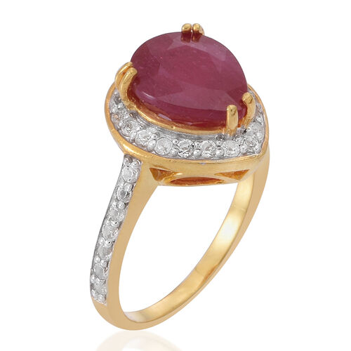African Ruby (Pear 4.35 Ct), White Topaz Ring in 14K Yellow Gold Overlay Sterling Silver 5.100 Ct.