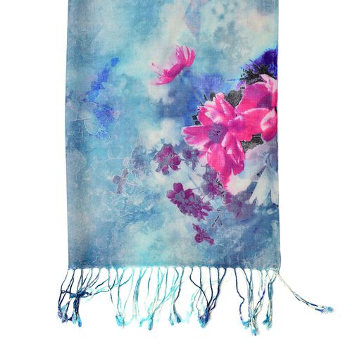 100% Wool Blue, Pink and Multi Colour Floral Pattern Scarf with Tassels (Size 184X68 Cm)
