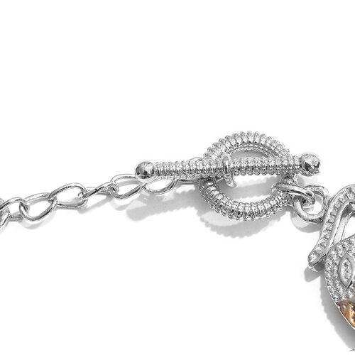 Designer Inspired-Platinum and Yellow Gold Plated Elephant Bracelet (Size 7.5)