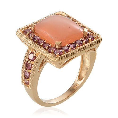 Mitiyagoda Peach Moonstone (Bgt 5.90 Ct), Rhodolite Garnet Ring in 14K Gold Overlay Sterling Silver 7.250 Ct.