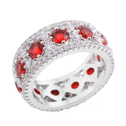 AAA Simulated Ruby (Rnd), Simulated Diamond Band Ring in Silver Bond