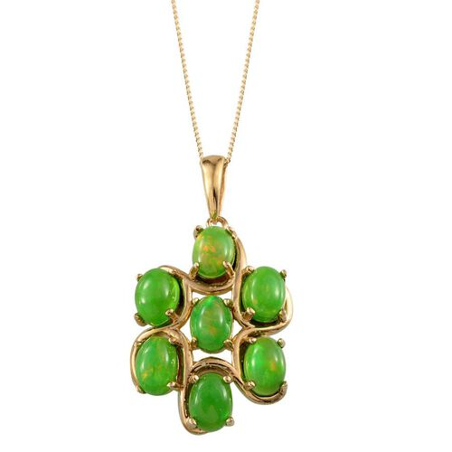 Green Ethiopian Opal (Ovl) 7 Stone Pendant With Chain in 14K Gold Overlay Sterling Silver 4.250 Ct.