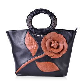Botanical Collection Tan 3D Floral Pattern Tote Bag with with Carved Wooden Handle(Size 25.5x12.5 Cm)