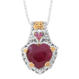 Designer Inspired - African Ruby (Hrt), Burmese Ruby Pendant with Chain in Rhodium and 14K Gold Overlay Sterling Silver 8.250 Ct.