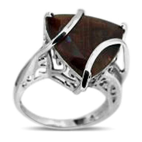 Chocolate Sapphire (Trl) Solitaire Ring in Rhodium Plated Sterling Silver 12.000 Ct.
