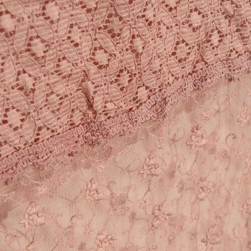 New For Season - 100% Micro - Cotton Slub Lace Dusty Pink Colour Scarf (Size 200x40 Cm)