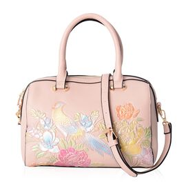 New For Season - Pink, Golden and Multi Colour Bird and Flowers Embossed Tote Bag with External Zipper Pocket and Removable Shoulder Strap (Size 28x22x16 Cm)