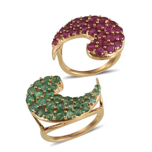 African Ruby (Rnd), Brazilian Sakota Emerald Ring Set in 14K Gold Overlay Sterling Silver 5.750 Ct.