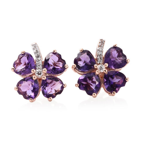 Amethyst (Hrt), Natural Cambodian Zircon Clover Leaf Earrings (with Push Back) in Rose Gold Overlay Sterling Silver 5.500 Ct.