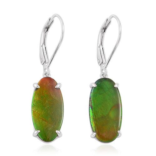 AA Canadian Ammolite (Ovl) Lever Back Earrings in Platinum Overlay Sterling Silver 6.500 Ct.