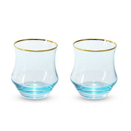 Set of 4 - Light Blue Tumblers with Gold Rim
