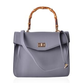Bamboo Top Handle Grey Colour Tote Bag with External Zipper Pocket and Adjustable and Removable Shoulder Strap (Size 30x24x12 Cm)