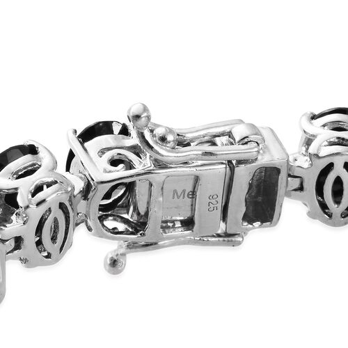 Rare Size Boi Ploi Black Spinel (Ovl 35.20 Ct) Bracelet (Size 6.5) in Platinum Overlay Sterling Silver 91.250 Ct. Silver wt. 22.00 Gms.