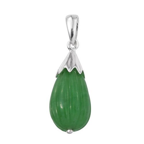 Green Jade Pendant in Sterling Silver 11.250 Ct.