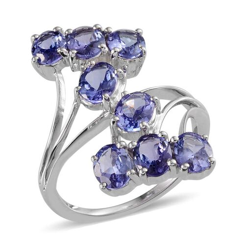 9K W Gold Tanzanite (Ovl) Crossover Ring 3.000 Ct.