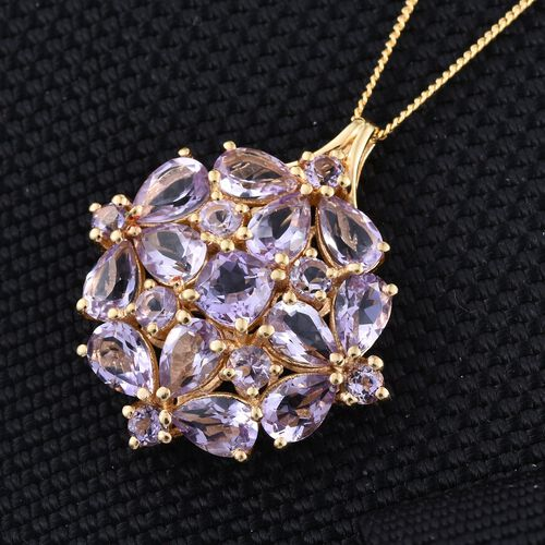 Rose De France Amethyst (Cush) Cluster Pendant With Chain in 14K Gold Overlay Sterling Silver 5.500 Ct.