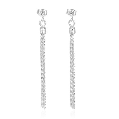 Close Out Deal Sterling Silver Fili Long Earrings (with Push Back), Silver wt 4.60 Gms.