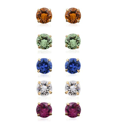 Set of 5 - Crystal from Swarovski - Fuchsia, Peridot, Citrine, Sapphire and White Colour Crystal Stud Earrings (with Push Back) in 14K Gold Overlay Sterling Silver
