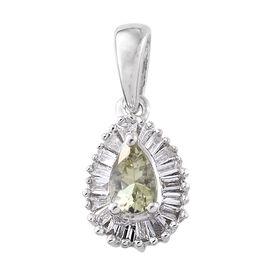 ILIANA 18K White Gold AAA Green Tanzanite (Pear), Diamond (SI G-H) Halo Pendant 0.500 Ct.
