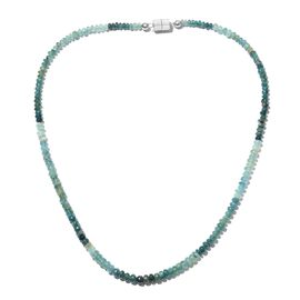Extremely Rare Grandidierite Necklace (Size 18) with Magnatic Lock in Platinum Overlay Sterling Silver 64.800 Ct.