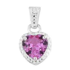 Created Pink Sapphire (Hrt 4.25 Ct) Heart Pendant in Sterling Silver 4.250 Ct.