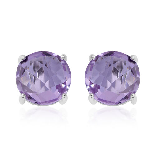 CHECKERBOARD CUT-Rose De France Amethyst (Rnd) Stud Earrings (with Push Back) in Sterling Silver 6.250 Ct.