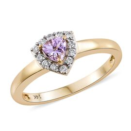 14K Y Gold AA Pink Tanzanite (Trl), Diamond Ring 0.500 Ct.