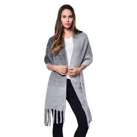Grey and Black Colour Scarf with Tassels (Size 200x47 Cm)