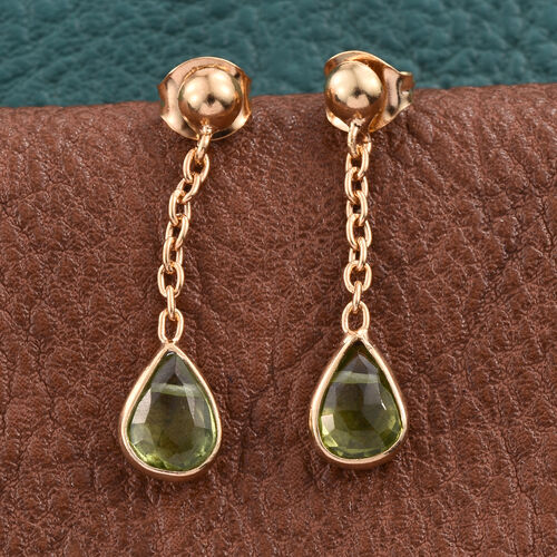 AA Hebei Peridot (Pear) Earrings (with Push Back) in 14K Gold Overlay Sterling Silver 2.390 Ct.
